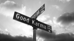 good karma street sign