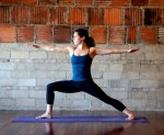 woman in warrior II yoga pose