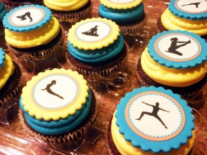 cupcakes with yoga poses on them