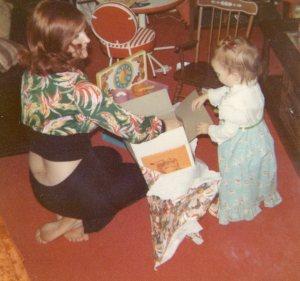 mom and toddler at christmas