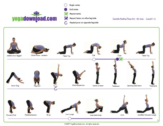 Gentle Hatha Yoga Pose Chart